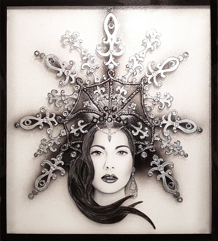 Custom glass wall art titled 'Cleo', featuring monochromatic lady.