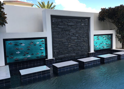 Feature glass panels in outdoor pool area
