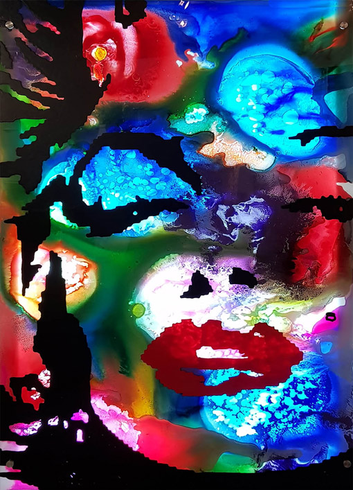 Marilyn themed abstract glass art in vivid colours.