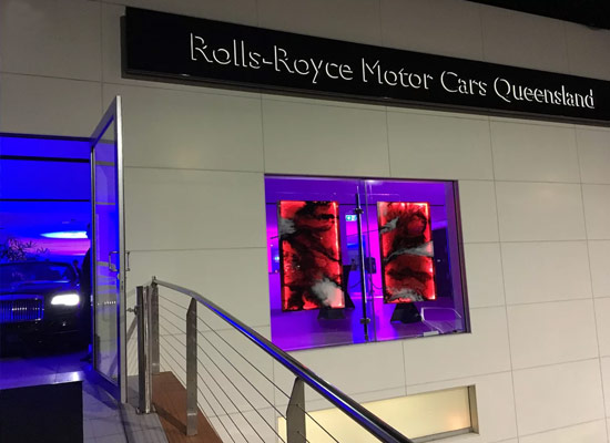 Mercedes Benz Gold Coast showroom custom glass art feature.