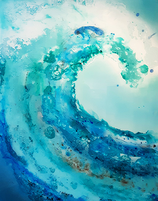 Crashing blue wave glass wall art.