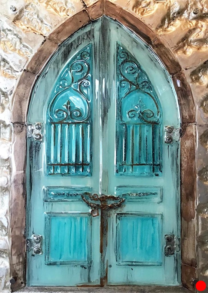 Blue door glass wall art.